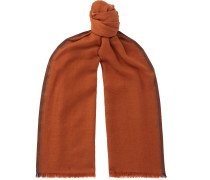 Striped Fringed Cashmere and Silk-Blend Twill Scarf