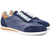 Leather And Suede Sneakers - Navy
