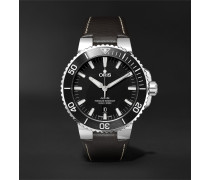 Aquis 43mm Stainless Steel and Leather Watch, Ref. No. 01 733 7730 4154-07 5 24 10EB