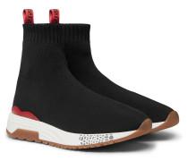 Hercules Logo Webbing-trimmed Stretch-knit High-top Sneakers - Black