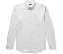 Slim-Fit Button-Down Collar Puppytooth Cotton-Flannel Shirt