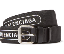3cm Black Logo-Print Canvas and Leather Belt