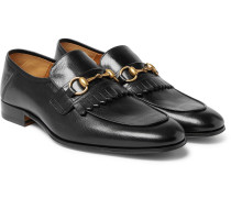 Harbor Horsebit Fringed Leather Loafers