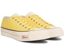 Skagway Leather-trimmed Canvas Sneakers - Yellow