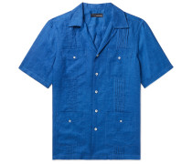 Slim-Fit Camp-Collar Pleated Linen Shirt