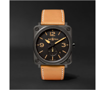 BR S Heritage 39mm Ceramic and Leather Watch, Ref. No. BRS‐HERI‐CEM