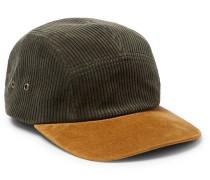 Suede-Panelled Cotton-Corduroy Baseball Cap