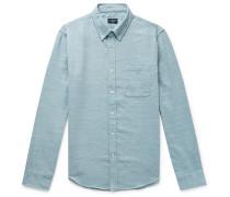 Slim-Fit Button-Down Collar Slub Woven Shirt