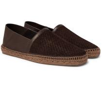 Collapsible-heel Pelle Tessuta Leather Espadrilles - Brown