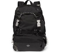 Valentino Garavani Studded Leather-trimmed Nylon Backpack