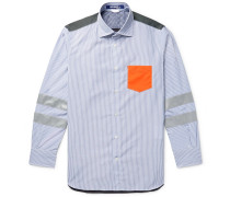 Panelled Cotton-poplin And Ripstop Shirt - Blue