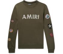 Logo-print Appliquéd Fleece-back Cotton-jersey Sweatshirt