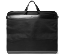 Nightflight Leather-trimmed Canvas Garment Bag - Black