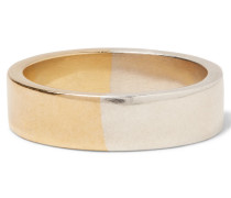 Logo-engraved Sterling Silver And Gold-tone Ring