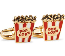 Popcorn Enamelled Gold-tone Cufflinks
