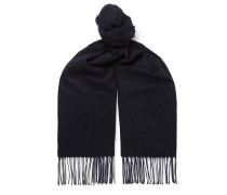 Fringed Cashmere And Silk-blend Scarf - Navy