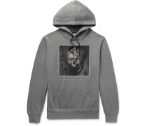 Printed Mélange Loopback Cotton-jersey Hoodie - Gray