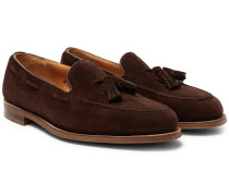 Hampstead Leather-Trimmed Suede Tasselled Loafers