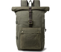 Roll-Top Tin Cloth and Leather-Trimmed Twill Backpack