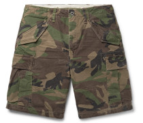 Camouflage-print Cotton Cargo Shorts