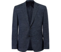 Navy Nobis Slim-fit Mélange Wool, Cotton And Linen-blend Blazer - Navy