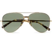 Aviator-style Tortoiseshell Acetate-trimmed Gold-tone Sunglasses - Gold