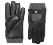 Cashmere And Leather Gloves - Black
