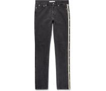 Slim-fit Logo Jacquard-trimmed Denim Jeans