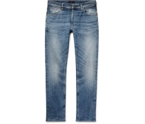 Lean Dean Slim-fit Tapered Distressed Organic Stretch-denim Jeans - Indigo