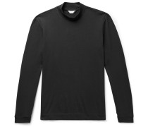 Cotton-Jersey Mock Neck T-Shirt