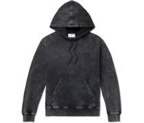 Acid-wash Fleeceback Cotton-jersey Hoodie - Black