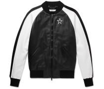 Satin-panelled Leather Bomber Jacket