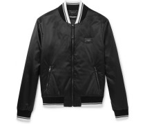 Stripe-trimmed Shell Bomber Jacket