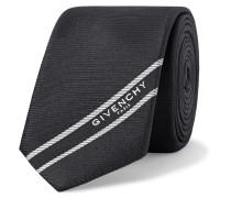6.5cm Logo-jacquard Webbing-trimmed Silk-faille Tie - Black