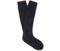 Ribbed Mélange Virgin Wool-blend Socks