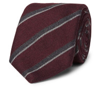 8cm Striped Silk And Cashmere-blend Tie - Burgundy
