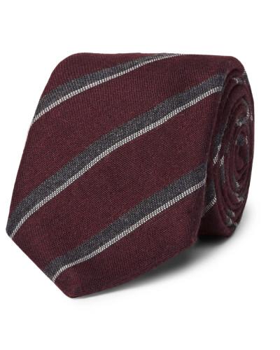 8cm Striped Silk And Cashmere-blend Tie