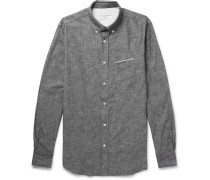 Slim-fit Button-down Collar Selvedge Cotton-chambray Shirt