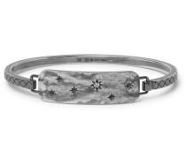 Engraved Gunmetal-tone Crystal Cuff