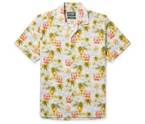 Camp-collar Floral-print Matte-satin Shirt