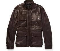 Slim-fit Leather Jacket - Dark brown