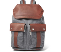 Full-Grain Leather and Mélange Wool Backpack