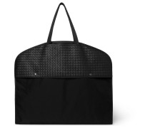 Intrecciato Leather And Canvas Garment Bag