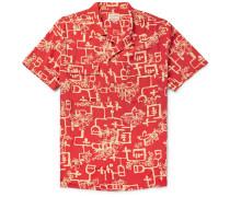 1940s Camp-collar Printed Matte-satin Shirt