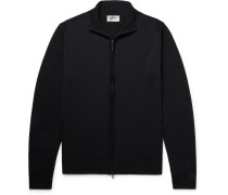 Claygate Merino Wool Zip-up Cardigan - Midnight blue