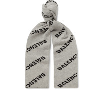 Logo-Jacquard Virgin Wool and Camel Hair-Blend Scarf