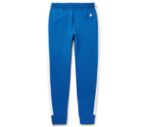 Slim-fit Tapered Striped Loopback Cotton-jersey Sweatpants - Blue