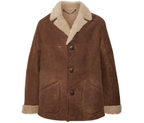 Leather-trimmed Shearling Coat - Brown