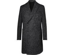 Double-breasted Herringbone Wool Overcoat - Gray