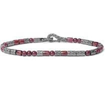 Intrecciato Gunmetal-tone And Granite Bracelet